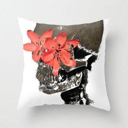 Skull with Flower Eyes Light Throw Pillow