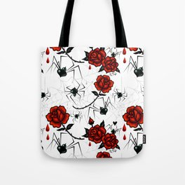 Black Widow Spider with Red Rose Tote Bag