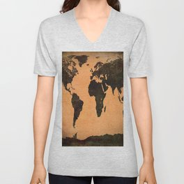 Grungy Abstract World Map Unisex V-Neck