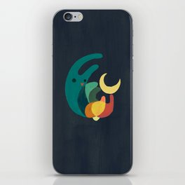 Rabbit and crescent moon iPhone Skin