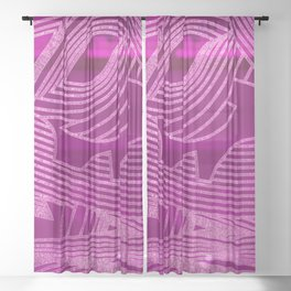 Symphony of Electric Pink Sky Sheer Curtain