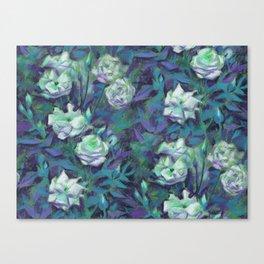 White roses, blue leaves Canvas Print