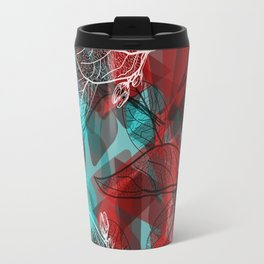 Abstract geometric pattern with Leaves contours. red maroo Travel Mug