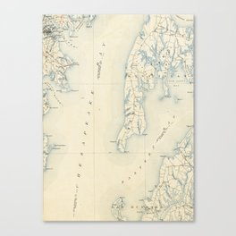 Vintage Annapolis MD & Chesapeake Bay Map (1902) Canvas Print