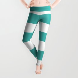 Horizontal Stripes - White and Verdigris Leggings