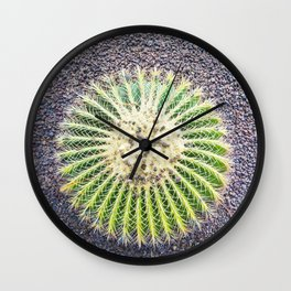 Round Green Cactus Wall Clock
