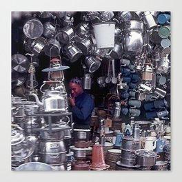 Moroccan Market Place: Cookware Booth Canvas Print