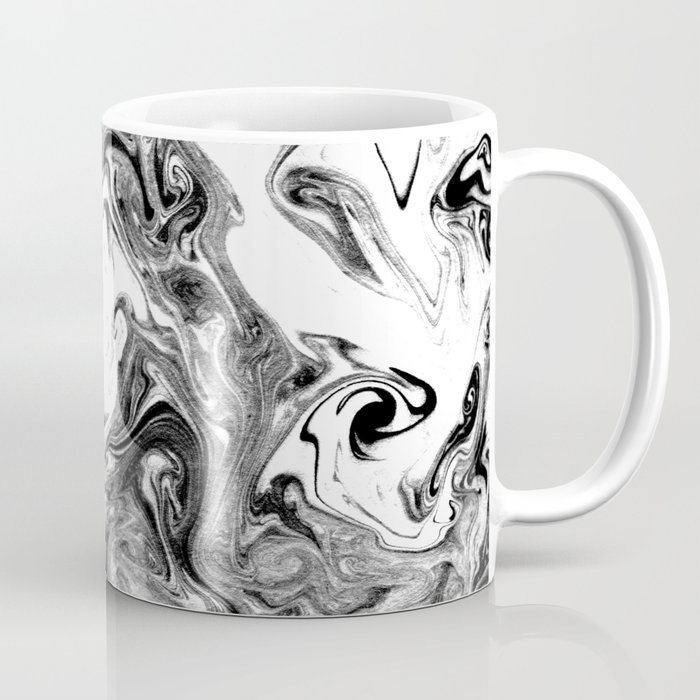 Suminagashi black and white marble spilled ink ocean swirl ...