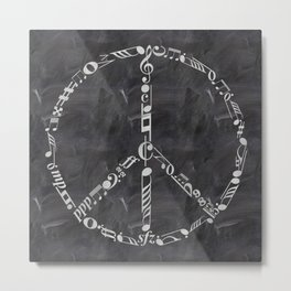 Music peace on chalkboard Metal Print