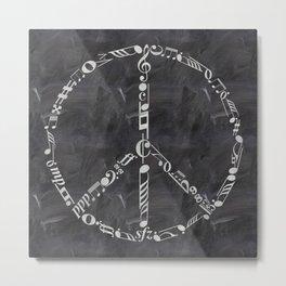Music peace on chalkboard Metal Print