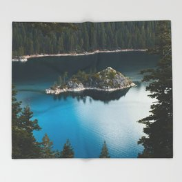 Fannette Island in Emerald Bay - Lake Tahoe, California Throw Blanket