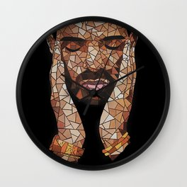 portrait,ovo,scorpion,geometric,rapper,colourful,colorful,poster,wall art,fan art,music,hiphop Wall Clock