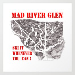 Mad River Glen Vermont, Ski Zentangle Illustration Art Print