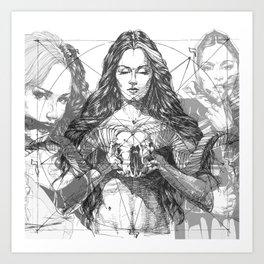 SOLVE ET COAGULA. New Composition. Ladies. Damascus. Triptych. Part 2. Illustration. INK ART. Yury F Art Print