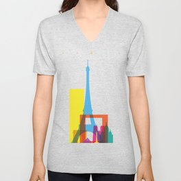 Shapes of Paris. Accurate to scale. Unisex V-Neck