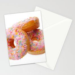 Group of pink donuts on white background Stationery Cards