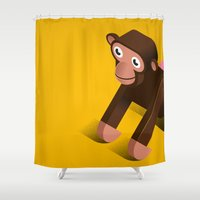 monkey Shower Curtains featuring Monkey by Virkelyst