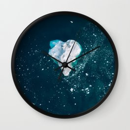 Heart of Winter - Aerial view of Icebergs in the arctic Ocean Wall Clock