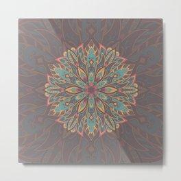 Brown colorful Tribal mandala Metal Print