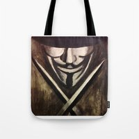 vendetta Tote Bags featuring VENDETTA by The Traveling Catburys
