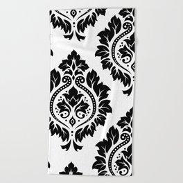 Decorative Damask Art I Black on White Beach Towel