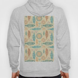 Bohemian pastel green orange feathers triangles mandala Hoody