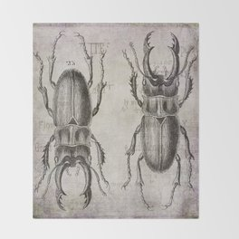 Grunge Style Stag Beetle Throw Blanket