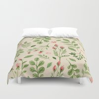 vintage flowers Duvet Covers featuring Vintage Flowers by Blue Daydreamer