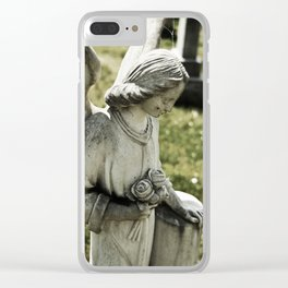 Angelic Statue Carries A Bouquet Of Roses Clear iPhone Case