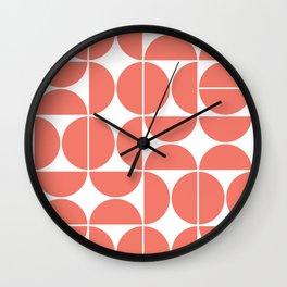 Mid Century Modern Geometric 04 Living Coral Wall Clock