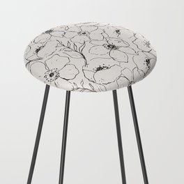 Floral Simplicity - Neutral Black Counter Stool