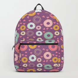 hearts and donuts purple Backpack
