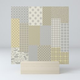 Modern Farmhouse Patchwork Quilt in Gray Marigold and Oatmeal Mini Art Print