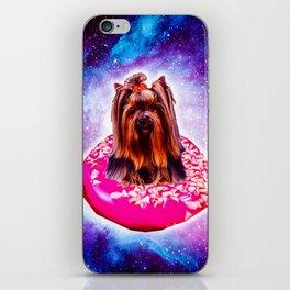 Outer Space Galaxy Dog Riding Doughnut iPhone Skin