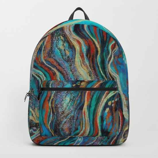 Colorful wavy abstraction Backpack