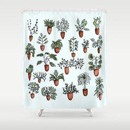 Succulent Houseplants in Terracotta Pots, Watercolor Cacti & Plant Wall Art Shower Curtain