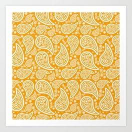 Paisley (White & Orange Pattern) Art Print