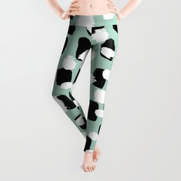 Spotted series abstract dashes mint black and white raw paint spots Leggings