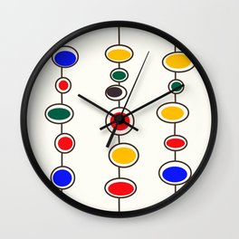 Mid Mod Bubbles in Primary Colors Wall Clock