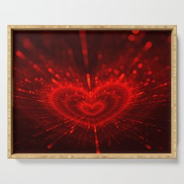 Cupid's Arrows | Valentines Day | Love Red Black Heart Texture Pattern Serving Tray