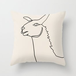 Llama One Continuous Line Throw Pillow