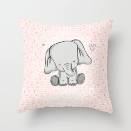 elephant girly cuty Throw Pillow