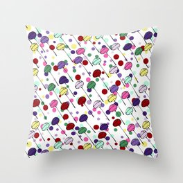 lolly pops - dots - white Throw Pillow