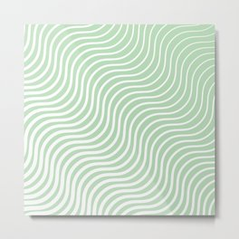 Whisker Pattern - Light Green & White #440 Metal Print