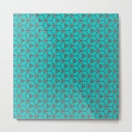 Hex Pattern 65 - Teal Metal Print