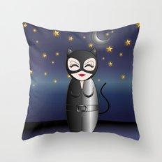 Cat kokeshi Throw Pillow