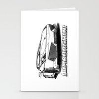 lamborghini Stationery Cards featuring Lamborghini line drawing by JT Digital Art