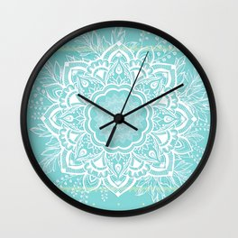 mandala bohemian embellishments floral medallion turquoise Wall Clock