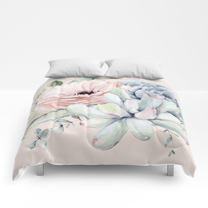 Elegant Blush Pink Succulent Garden by Nature Magick Comforters