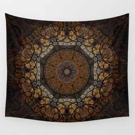 Rich Brown and Gold Textured Mandala Art Wall Tapestry